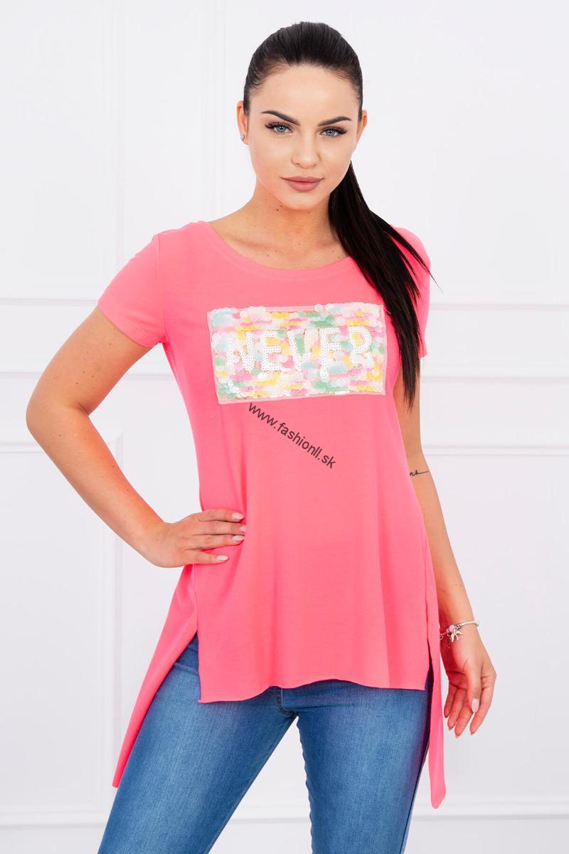 7c1fd3fa643aa Dámske módne tričko Never - neónová ružová