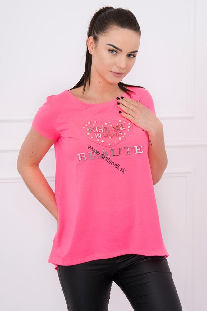 112b42c7087b1 Dámske tričko Kiss Me - neónová ružová