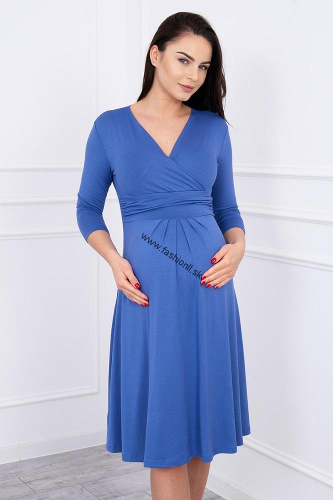 Šaty po kolená s 3 4 rukávmi - džínsová modrá 5a2ad114397