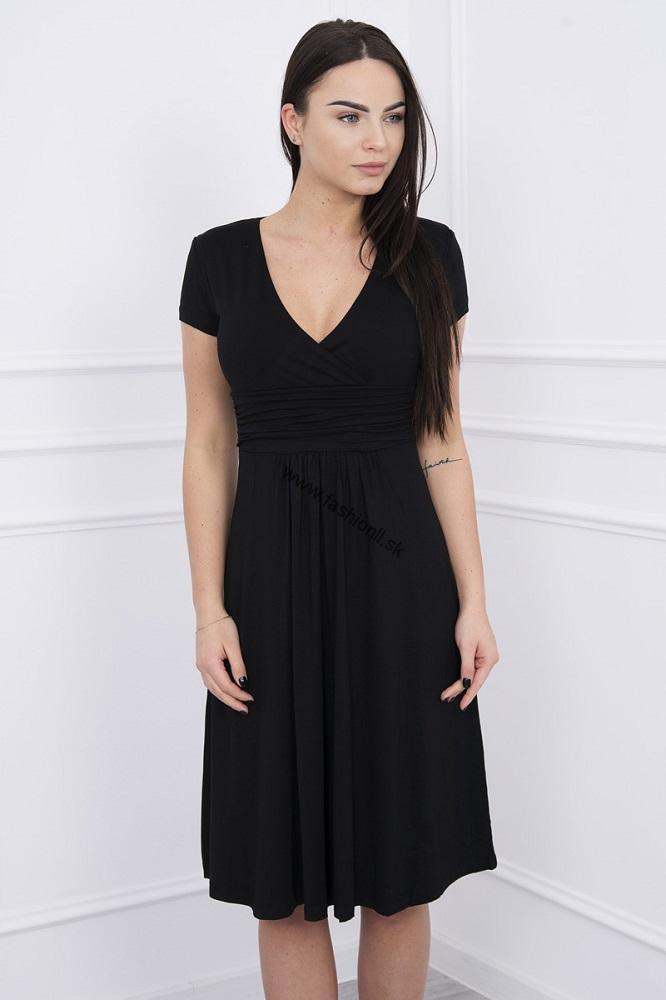 Šaty po kolená s krátkym rukávom - čierna a04c0ef35d0