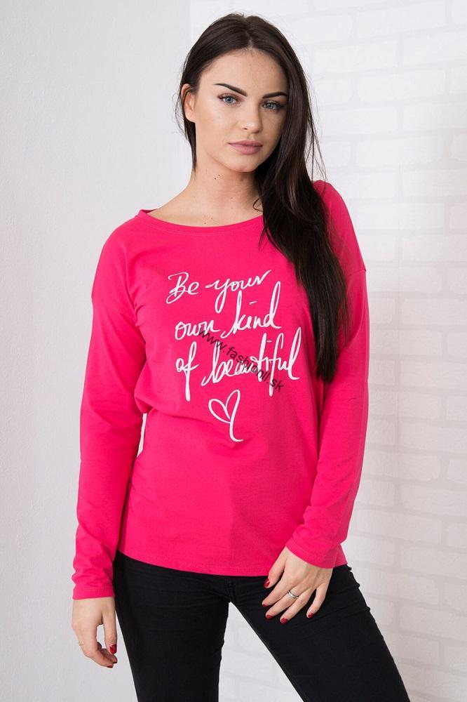 03599dadc37d Tričko s dlhým rukávom Be beautiful - ružová