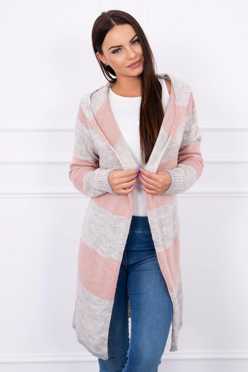 1cfdb12cf867 Pletený sveter s kapucňou - sivá-svetlo ružová