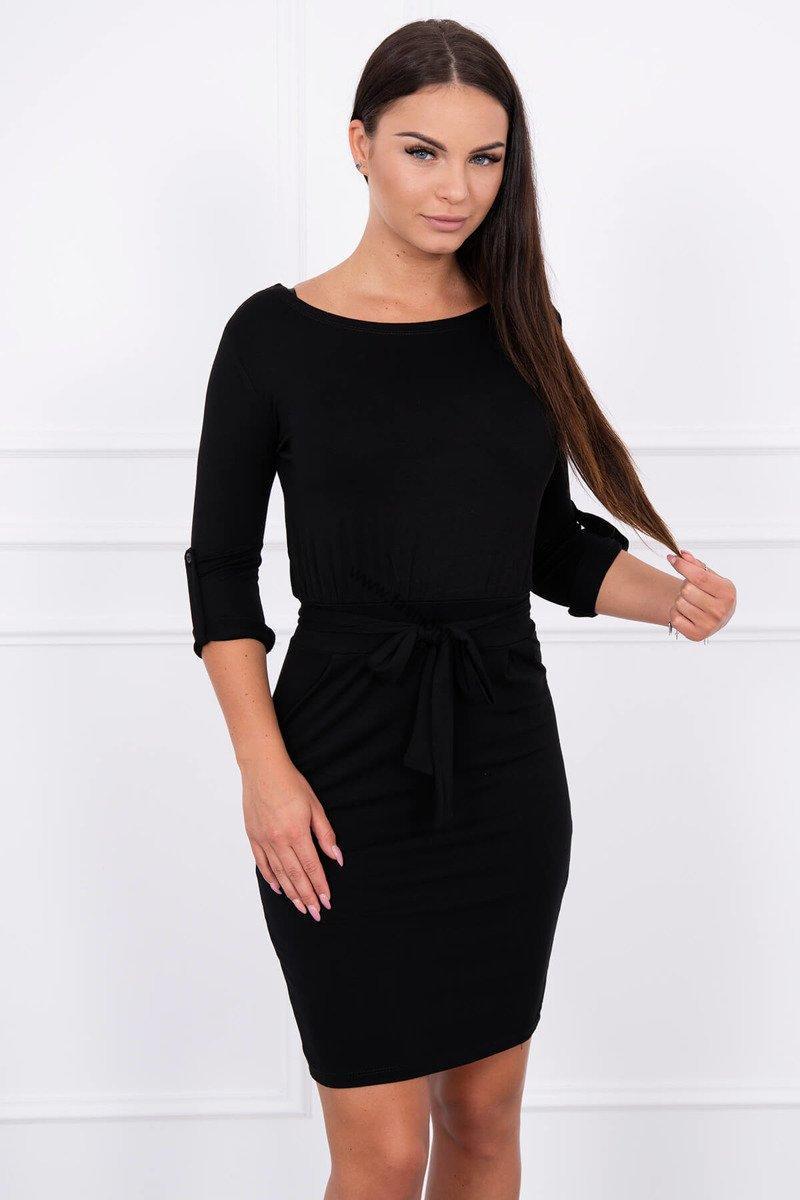 614436ce417d Elegantné šaty s 3 4 rukávom - čierna