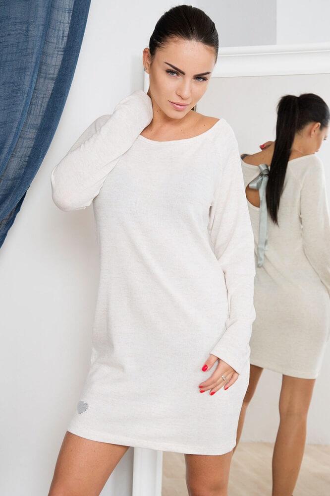 fae2bae19cc8 Úpletové šaty s mašľou - smotanová. skladom
