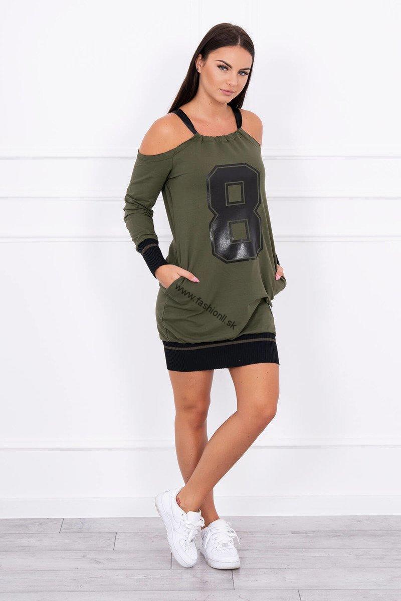 9e65fe916f29 Šaty s odhalenými ramenami 8 - khaki