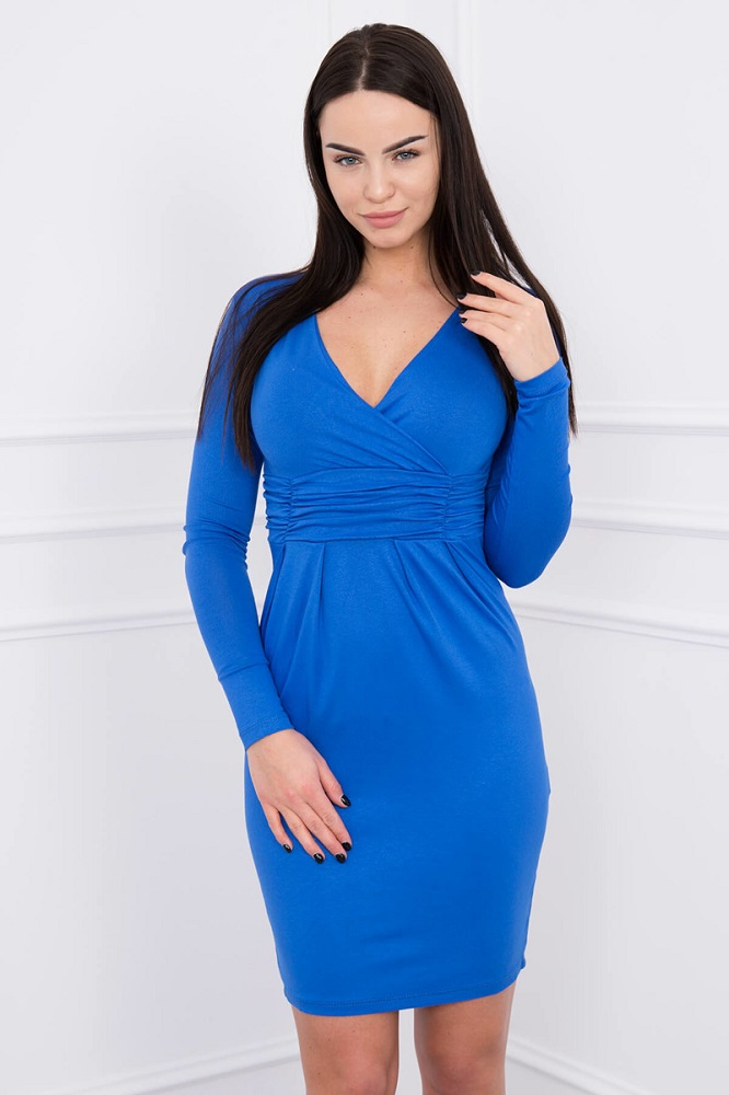 Šaty nad kolená s dlhým rukávom - kráľovská modrá 366adf3ab96