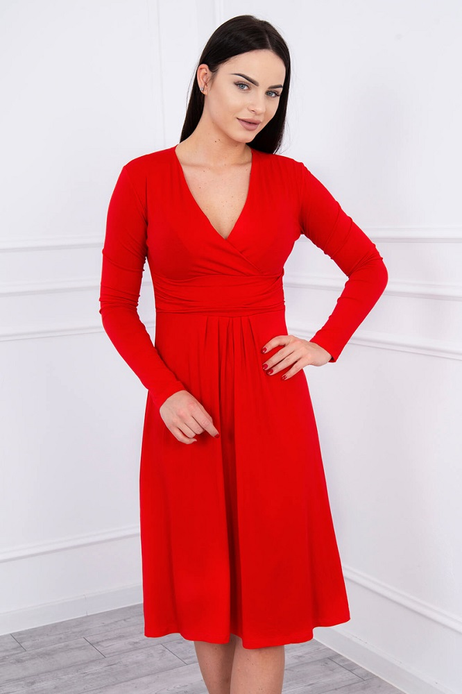 Šaty po kolená s dlhým rukávom - červená 80073ca86f1