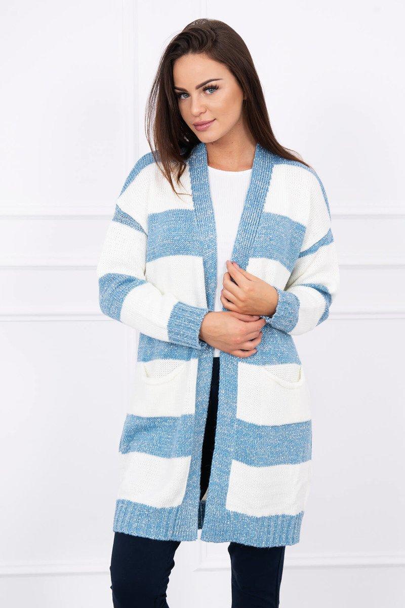 Dámsky pletený sveter Land - modrá-smotanová 2430b2dffa1