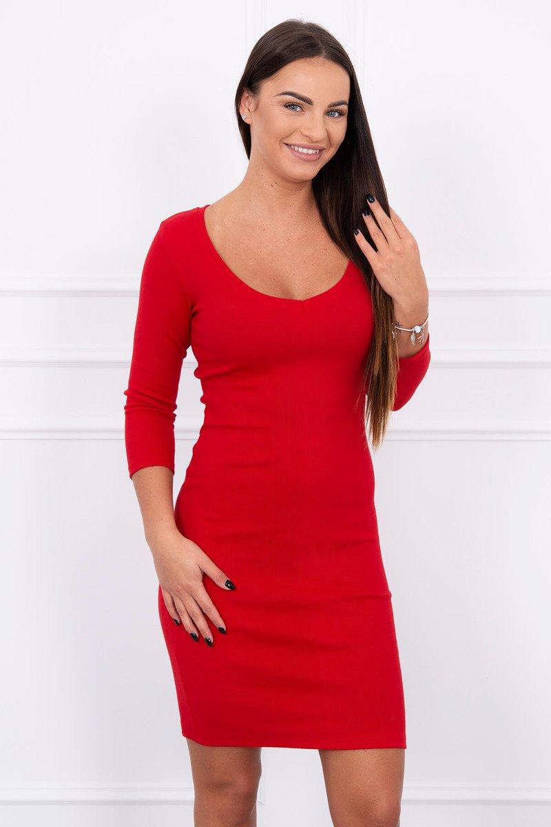 Rebrované dámske šaty - červená 9022b0d8f3