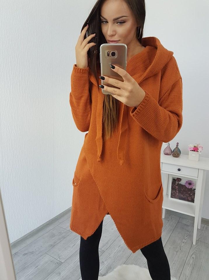 5724f96621a7b Pletený sveter s kapucňou - hnedá