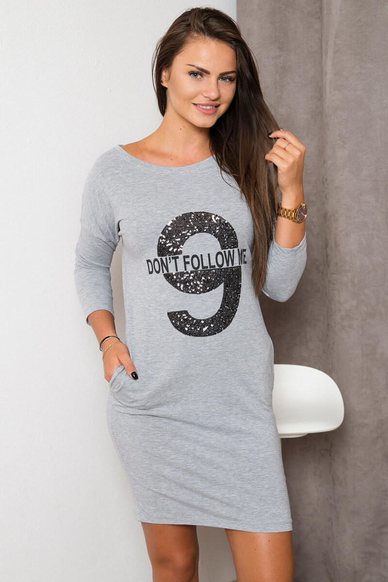 Šaty s potlačou - sivá 3ec2236f564