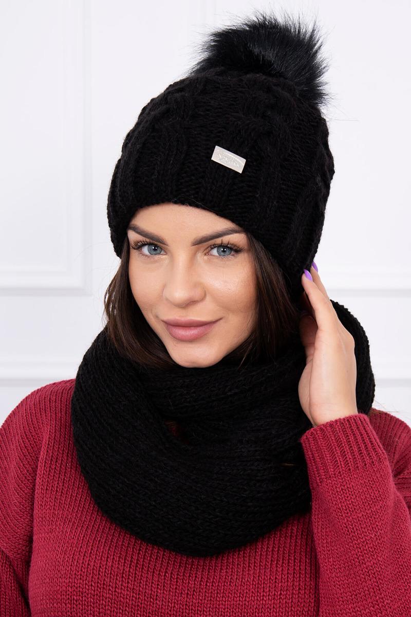 e48eacdbc Jednofarebná zimná súprava čiapka a šál - čierna