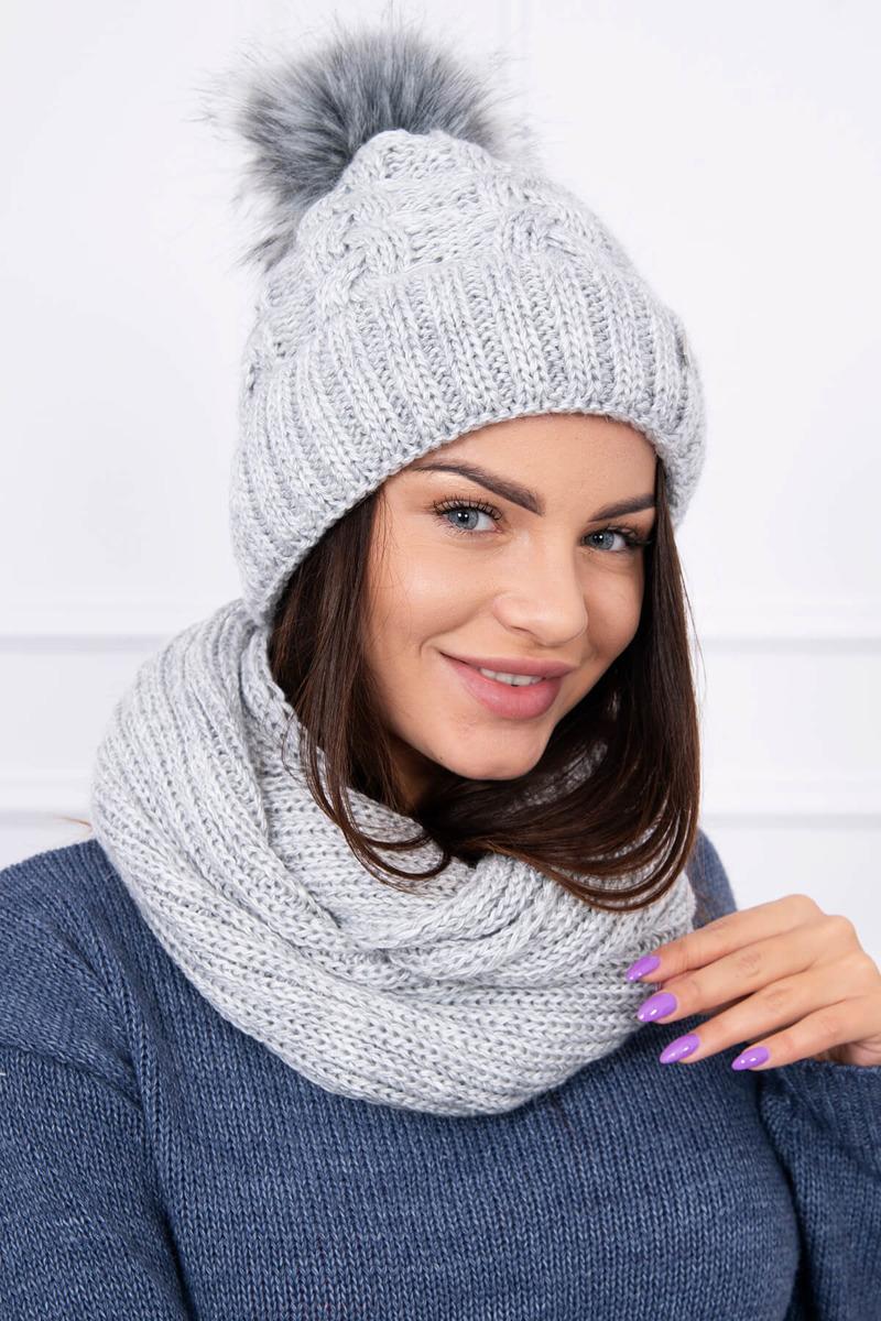 395331748 Zimná súprava čiapka a šál - svetlo sivá