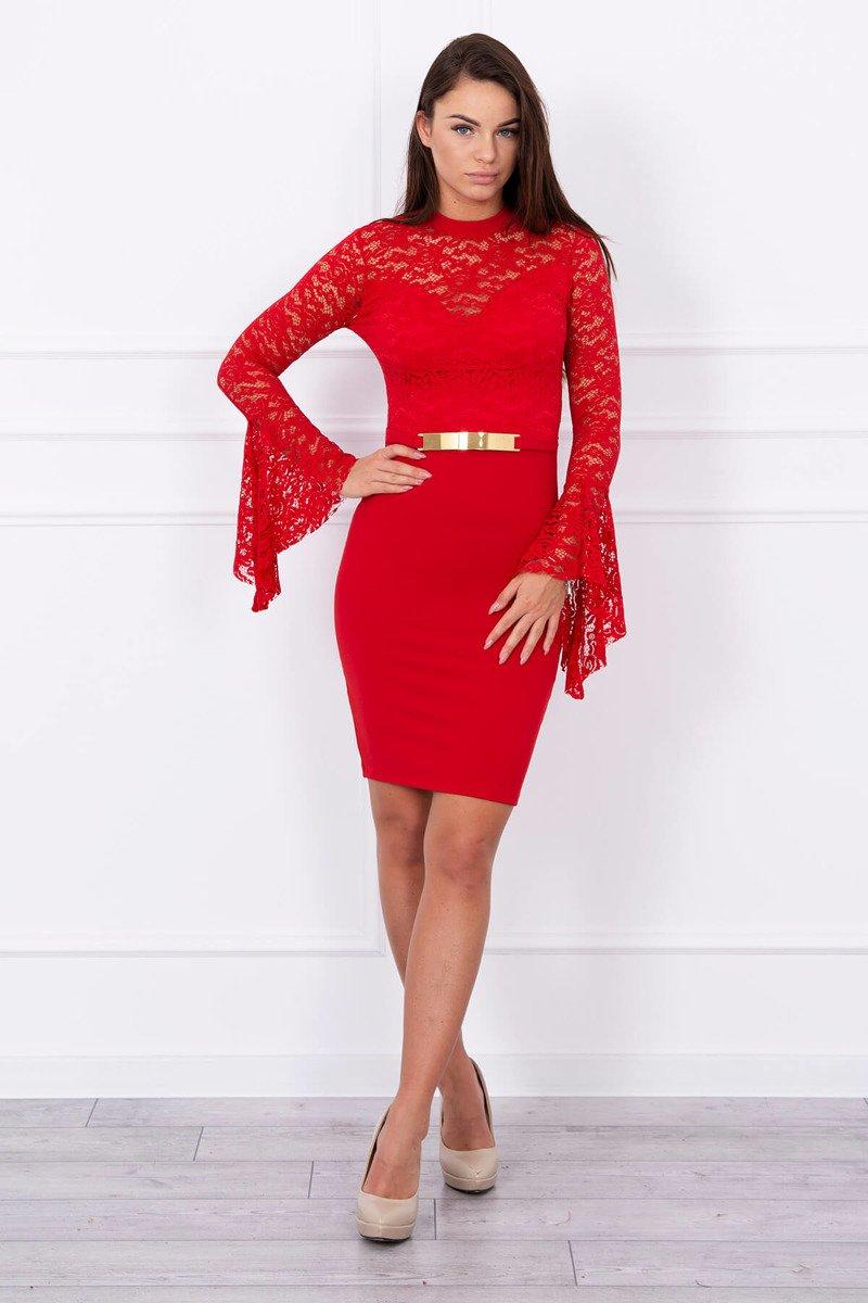 568d8860cabb Elegantné šaty s čipkou - červená
