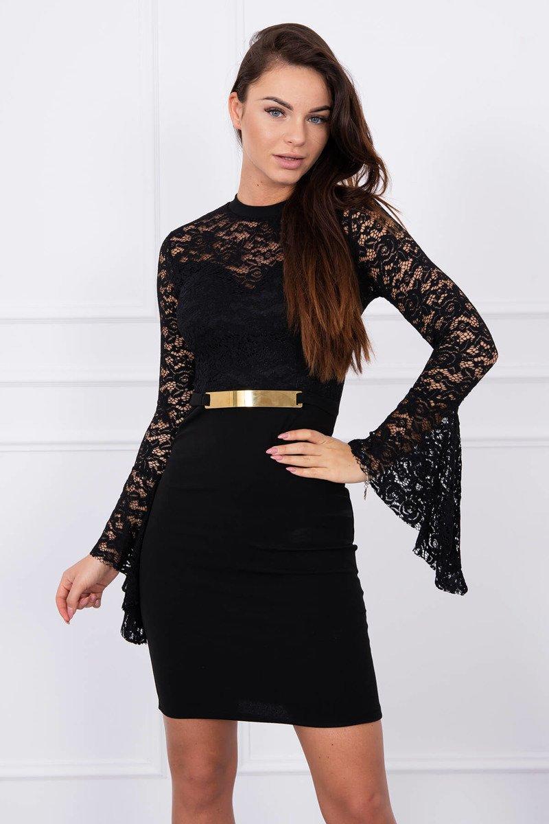 20c8fd7a0721 Elegantné šaty s čipkou - čierna