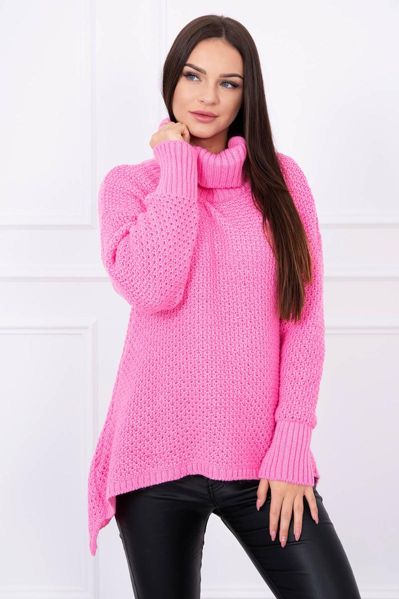 42fd83102bb4 Asymetrický pletený sveter s rolákom - ružová