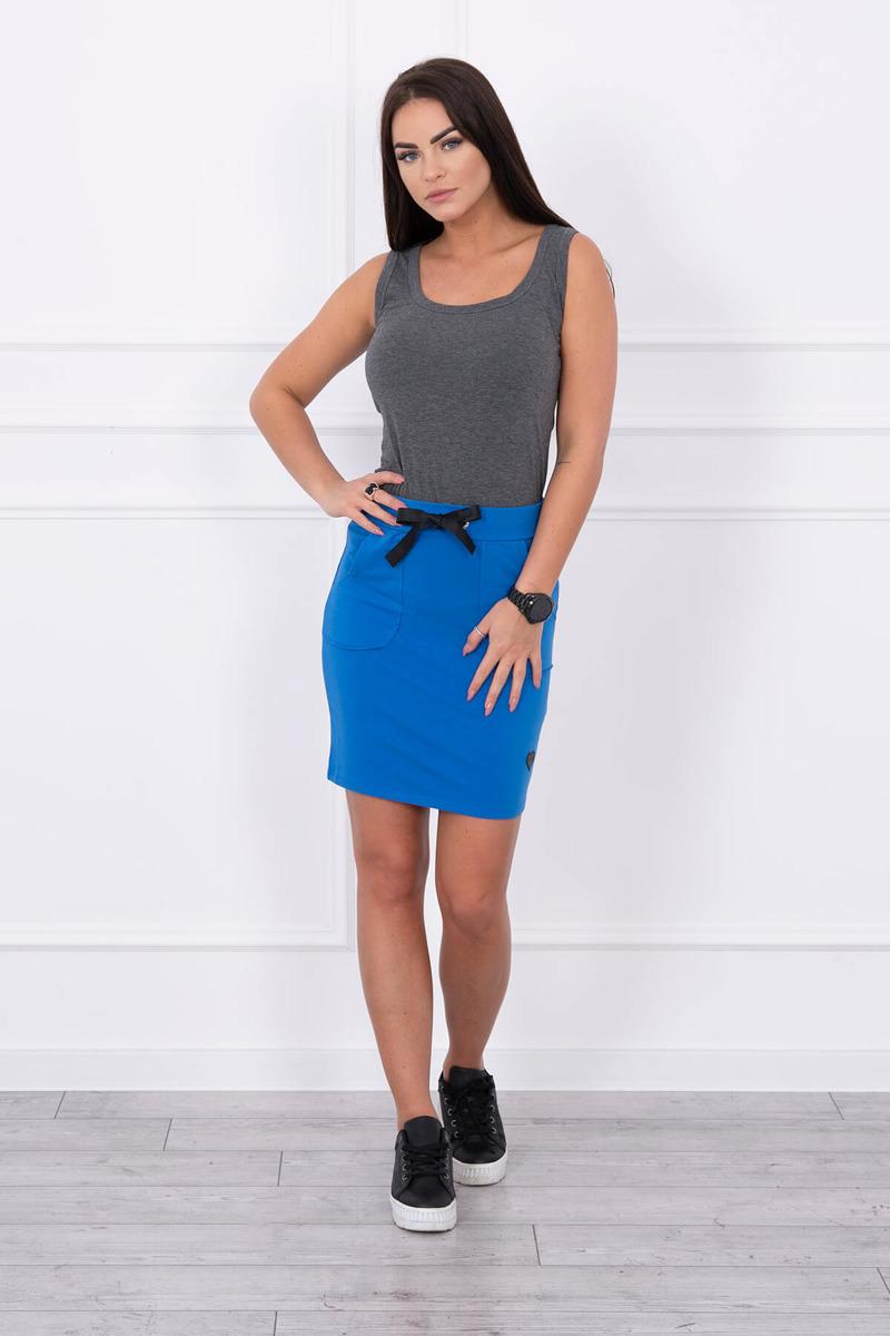 91f85c9b13eb Dámska sukňa s viazaním v páse - kráľovská modrá