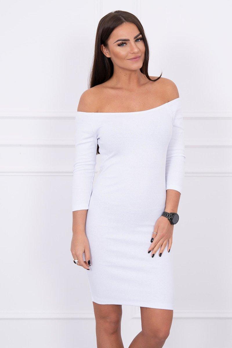 c00ba18481d7 Rebrované šaty s odhalenými ramenami - biela