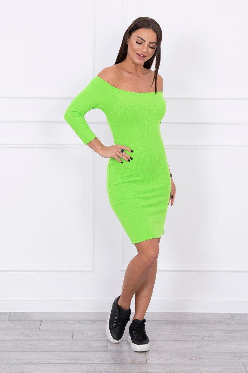 3fd89b318b42 Rebrované šaty s odhalenými ramenami - neónovo zelená