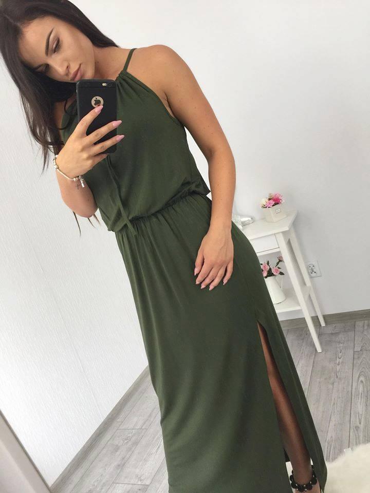 e5c8928591 Dlhé letné šaty na ramienka - khaki