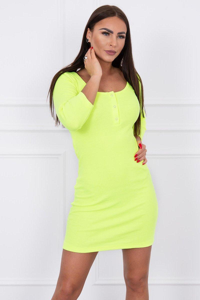 94402c65702e Dámske rebrované šaty s patentkami - neonová žltá