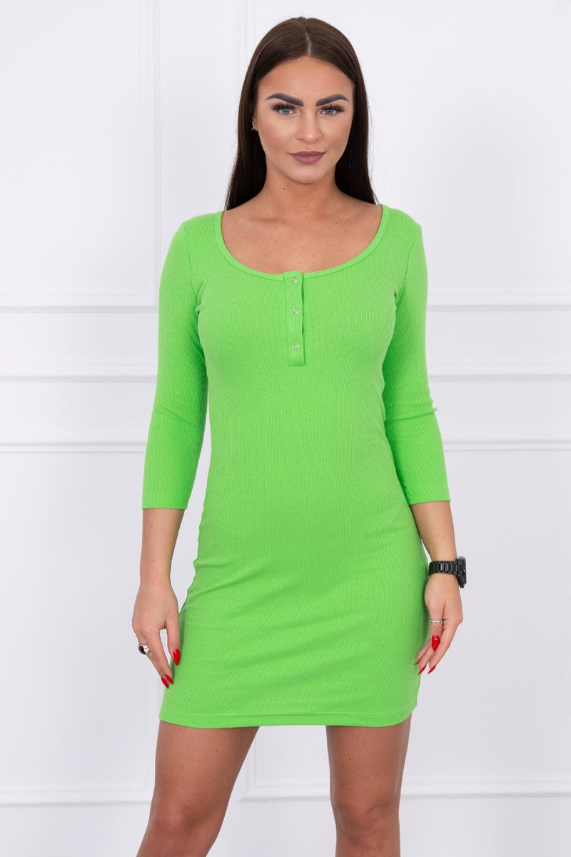 ba89d3dfbd22 Dámske rebrované šaty s patentkami - zelená