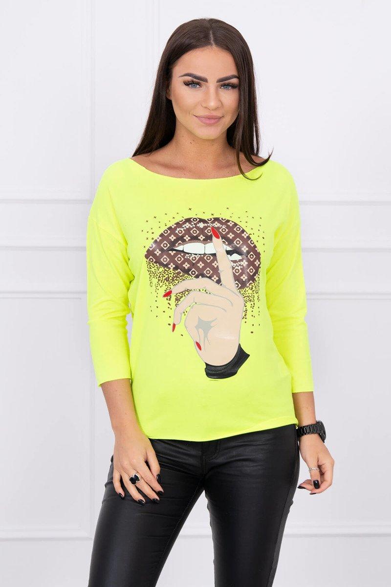ddaa43e3547e Neonova žlté dámske tričko Lips Psst