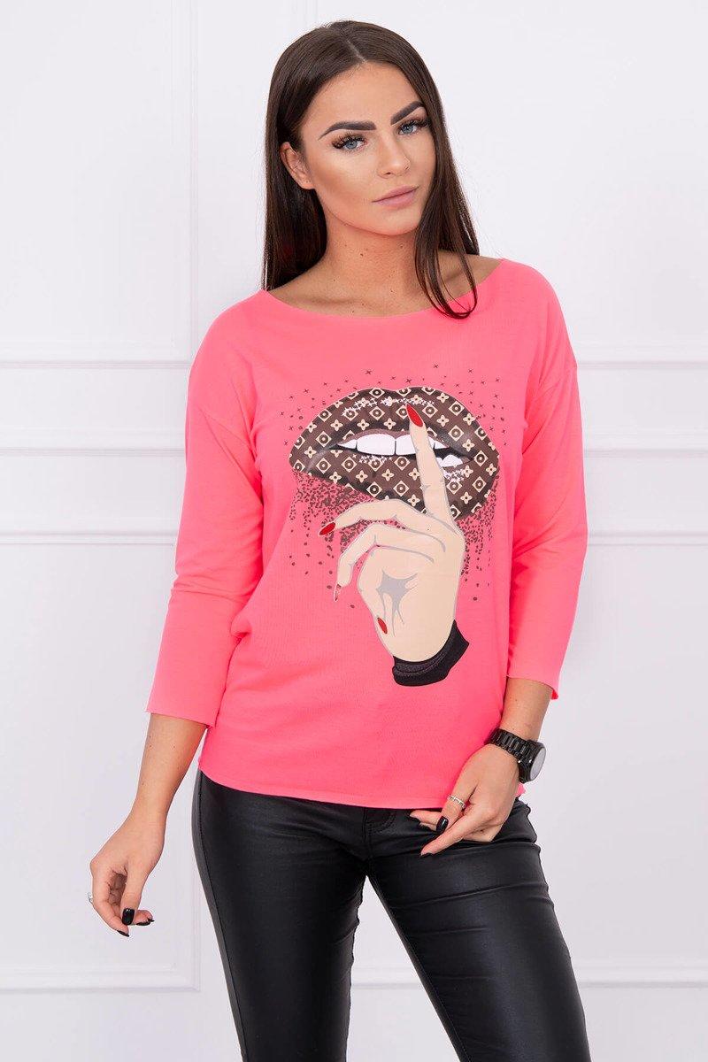 622a4f763445 neonovo ružové dámske tričko Lips Psst