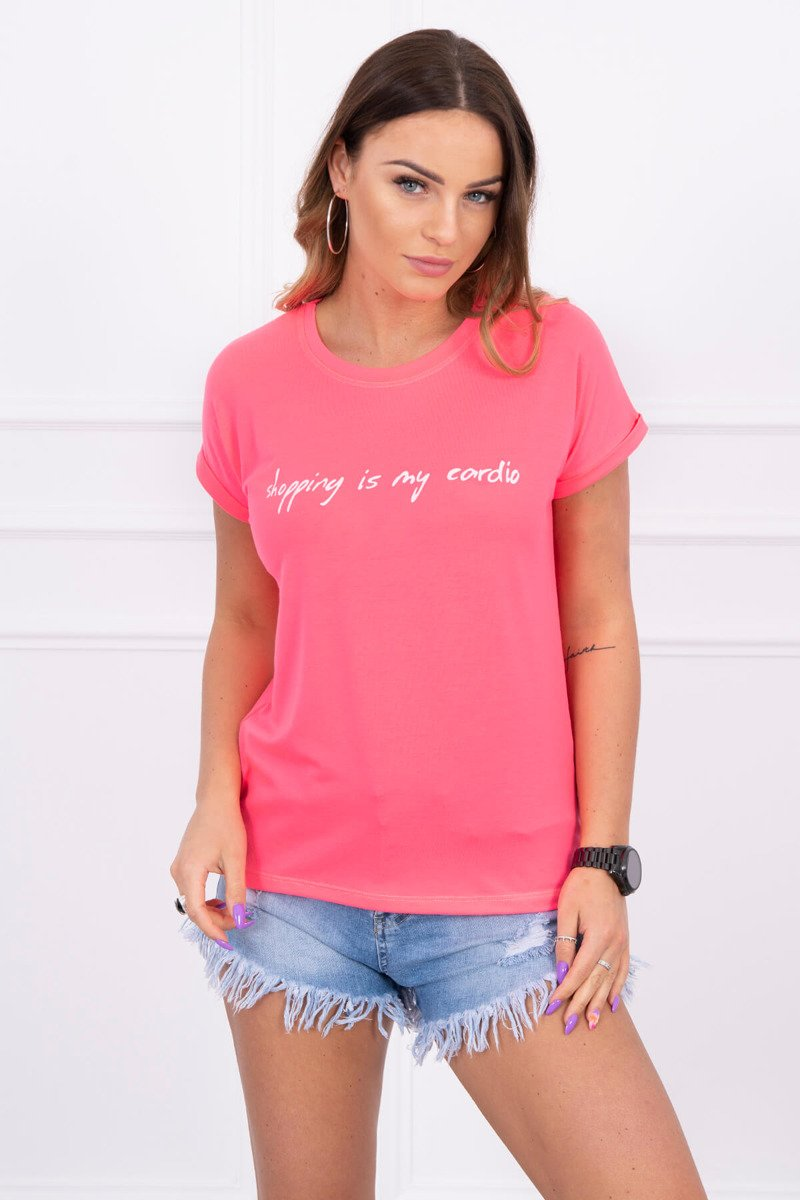 15e4204b57f6 Dámske tričko Shopping is my cardio - neonovo ružová