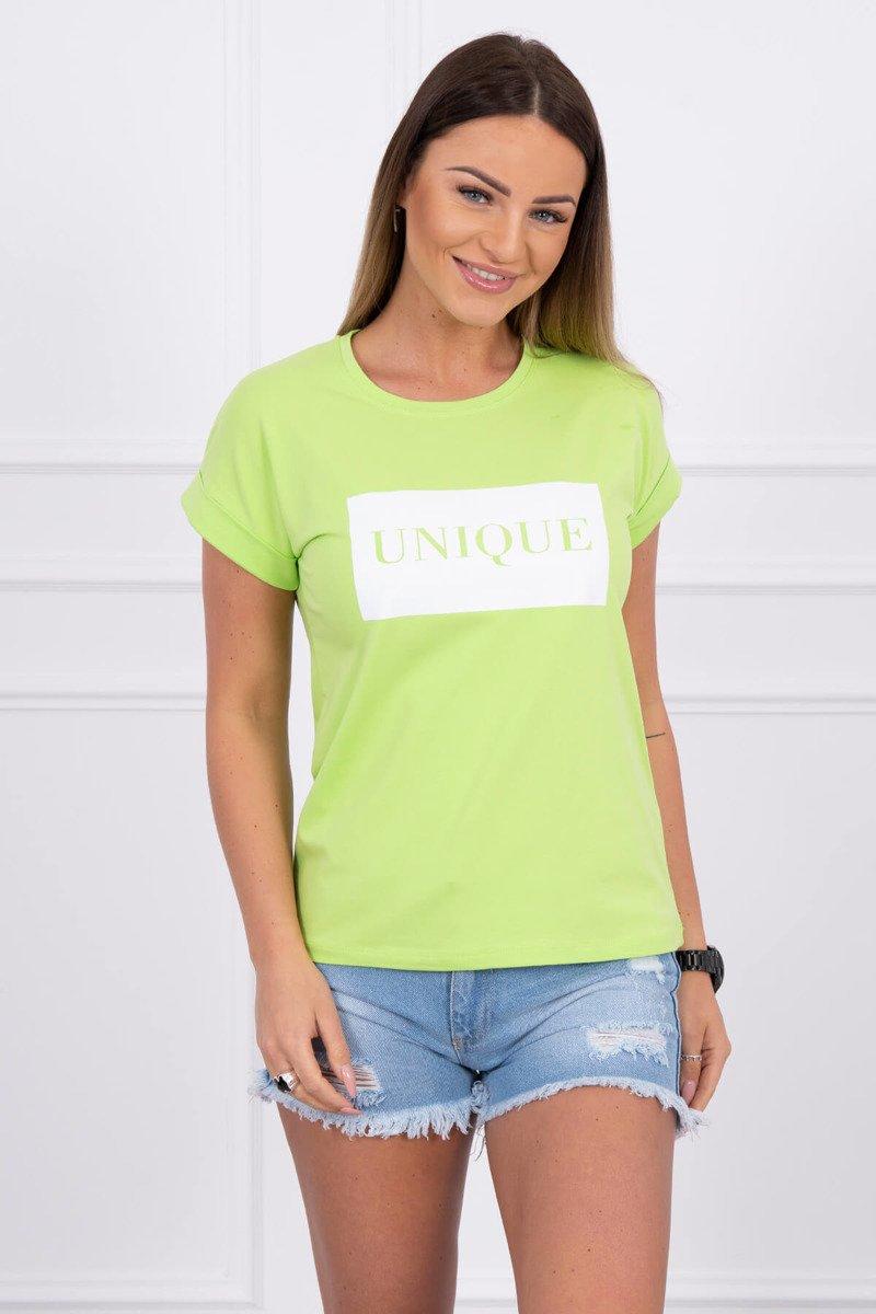 266058578d434 Zelené dámske tričko s nápisom Unique