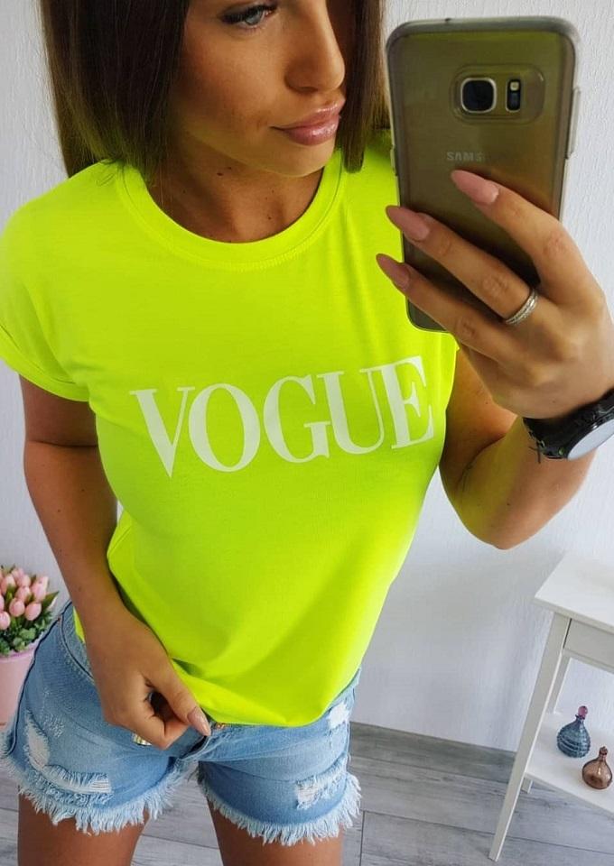 1a2b53a1de9f Neonovo žlté dámske tričko s nápisom Vogue