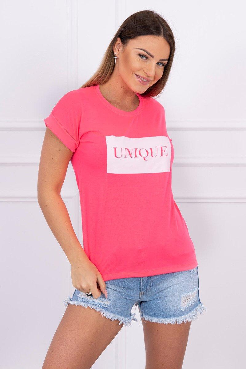 ff4e72c86ca4 Neonovo ružové dámske tričko s nápisom Unique