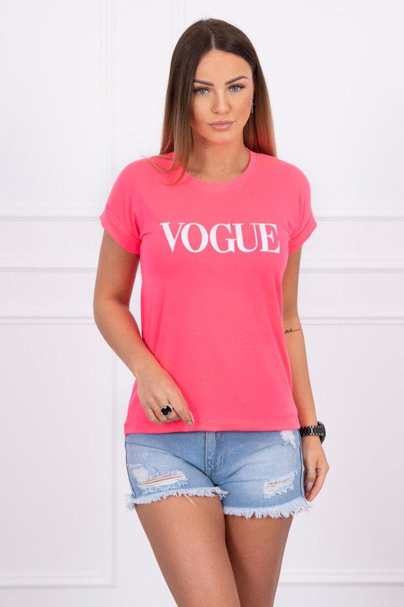 fcbe157c121e Neonovo ružové dámske tričko s nápisom Vogue