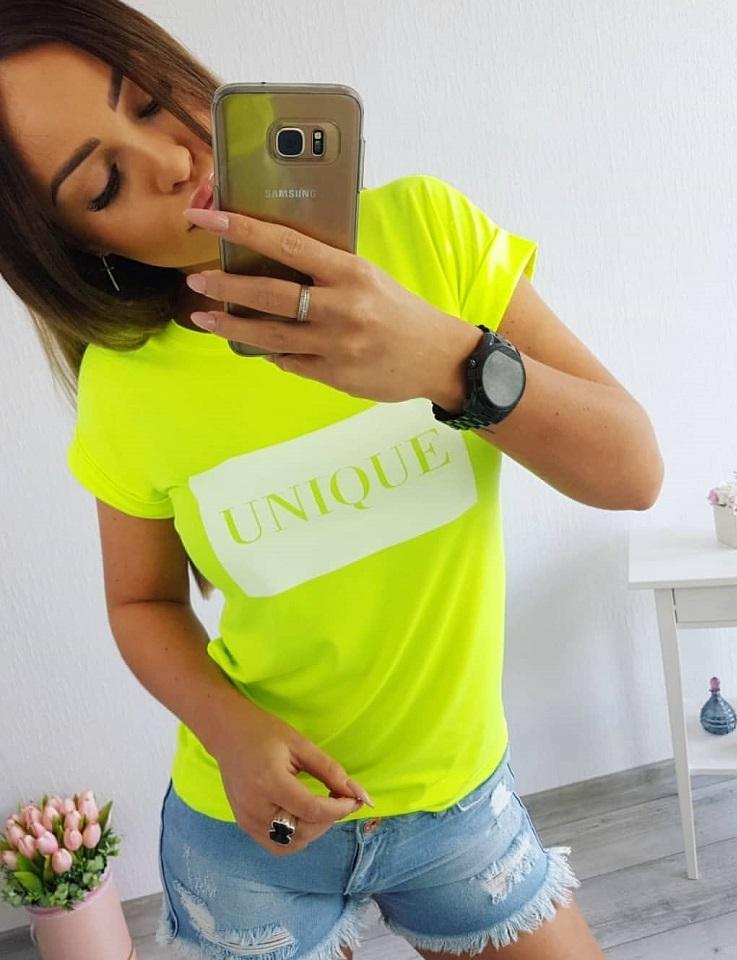 06b7f7c6715d Neonovo žlté dámske tričko s nápisom Unique