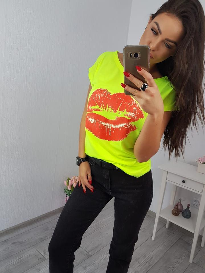 b7a8ee2850b2 Dámske tričko s potlačou Lips - neonovo žltá