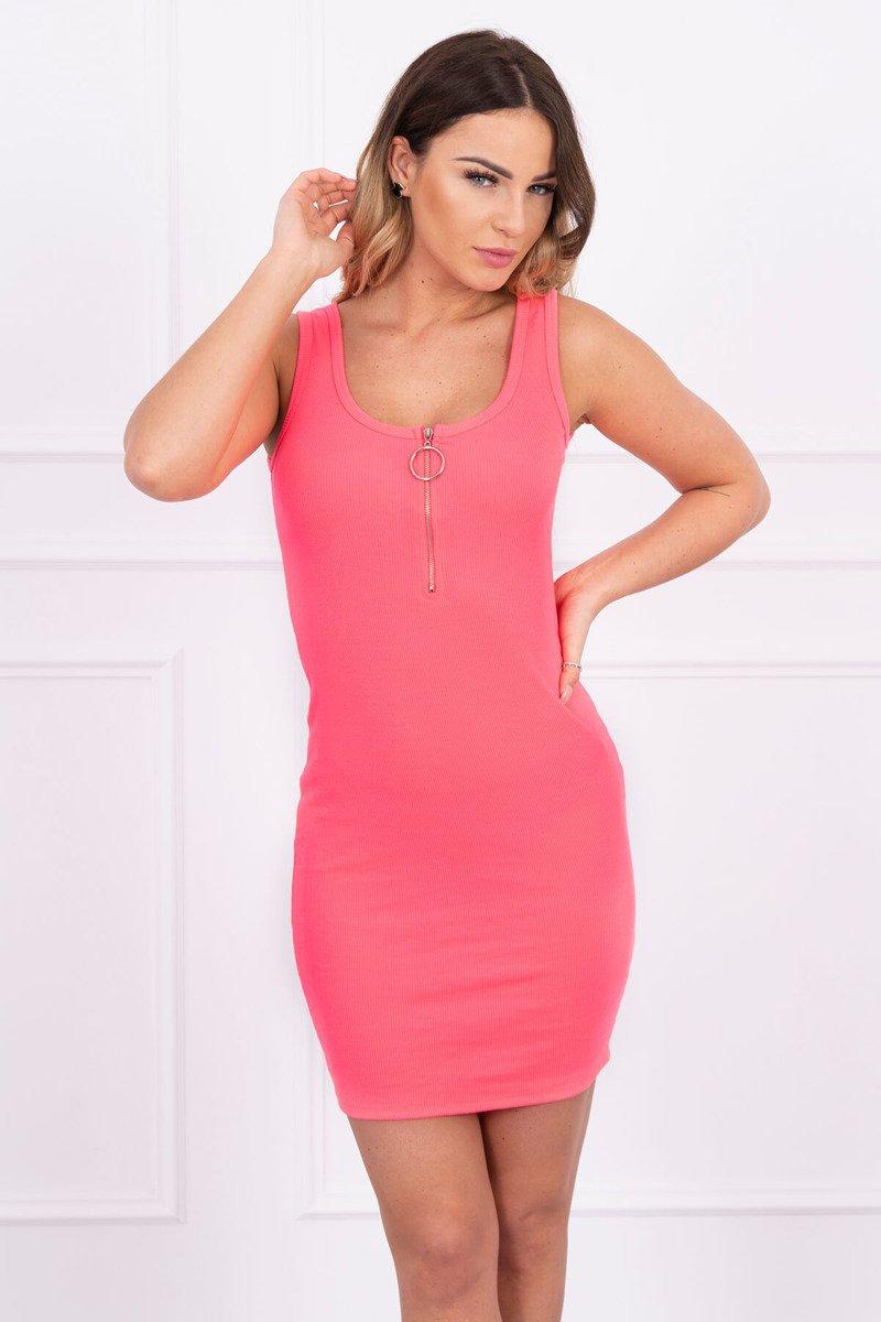 44651084f9da Letné šaty so zipsom - neonovo ružová
