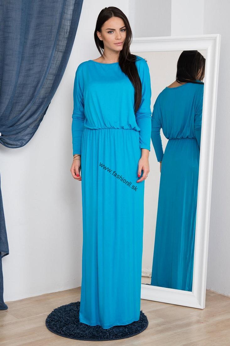 3bb1df9b542f Tyrkysovo modré dlhé spoločenské šaty