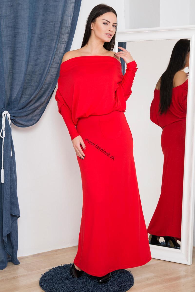 e0314e8fd6c8 Dlhé šaty s padavým výstrihom - červená