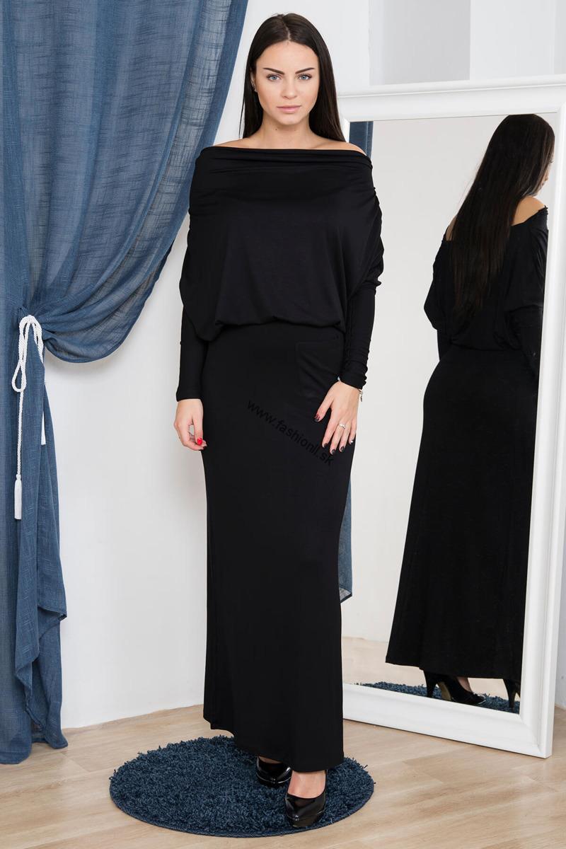 Dlhé šaty s padavým výstrihom - čierna 1c5848151d9