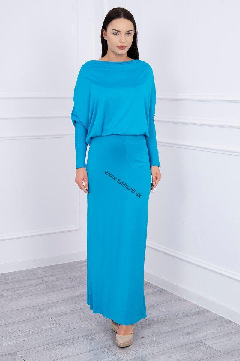 5b5894290306 Dlhé šaty s padavým výstrihom - tyrkysová
