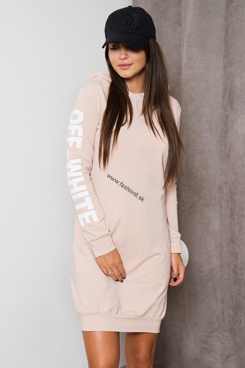 Športové šaty Off White - pudrovo béžová 4e9211d97ef