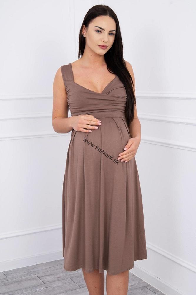 be0a9be97172 Cappuccinové šaty so širokými ramienkami
