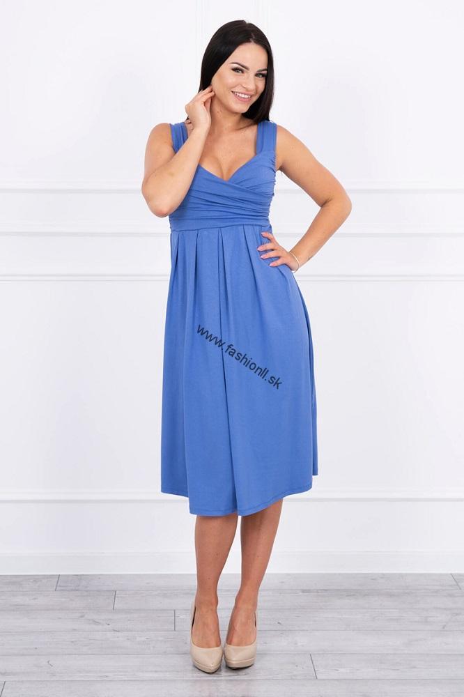 e92b32202e46 Šaty so širokými ramienkami - džínsová modrá