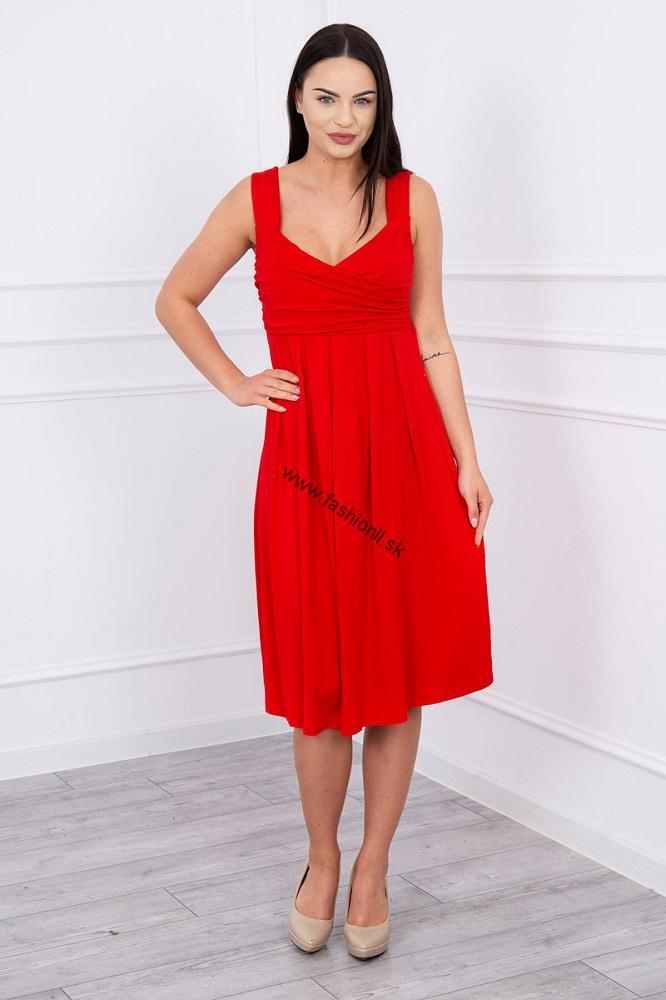 6aba23022d66 Šaty so širokými ramienkami - červená
