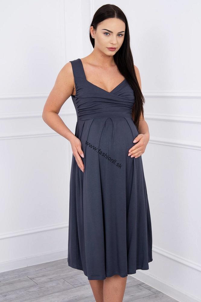 Šaty so širokými ramienkami - grafitová e945d178125