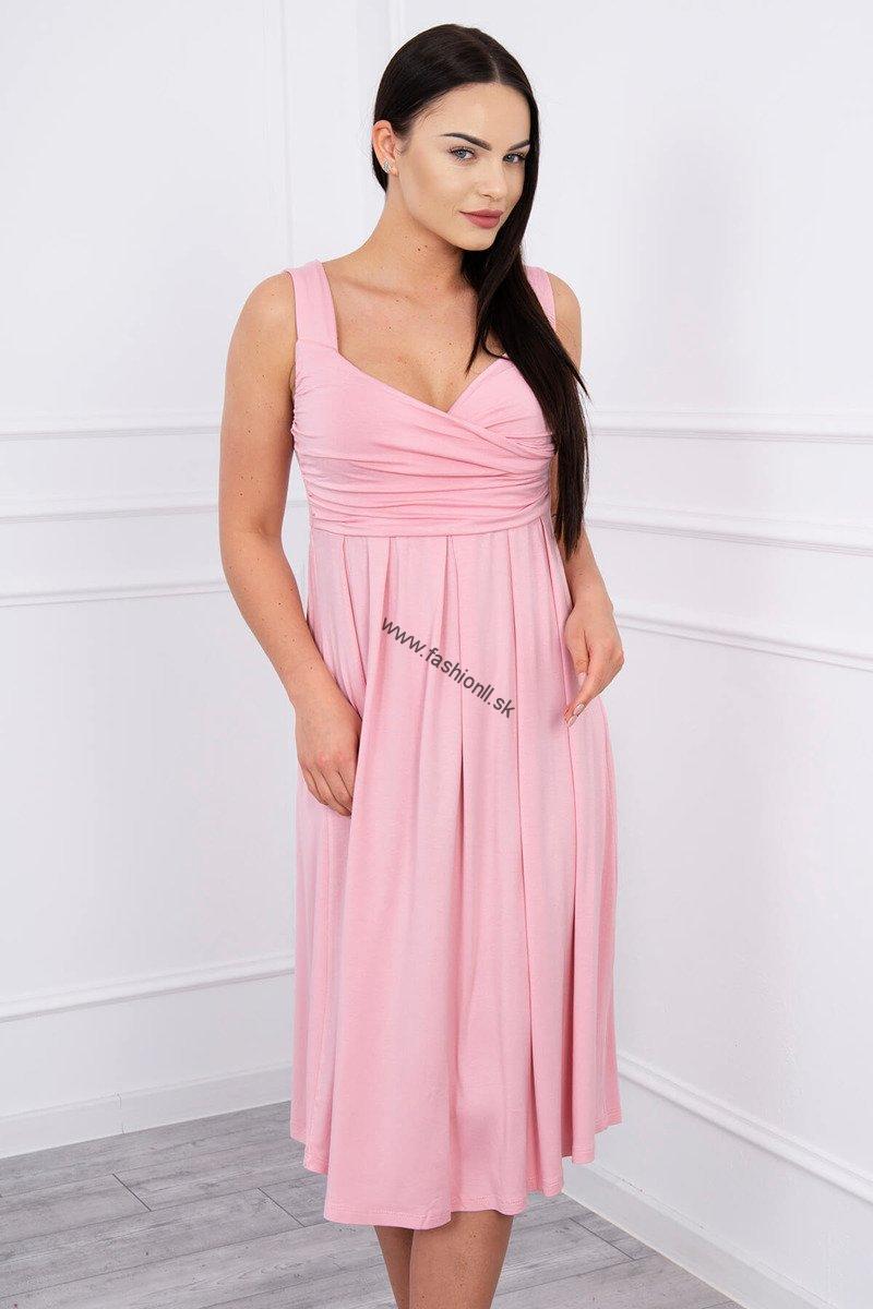 4f5da99e2b81 Šaty so širokými ramienkami - pudrová ružová