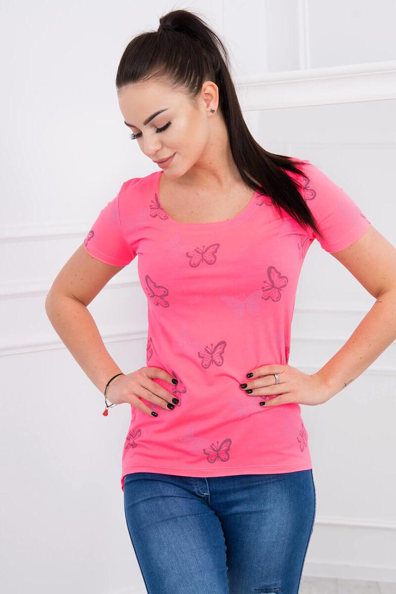 309cce9a55a7 Tričko Butterfly - neónová ružová