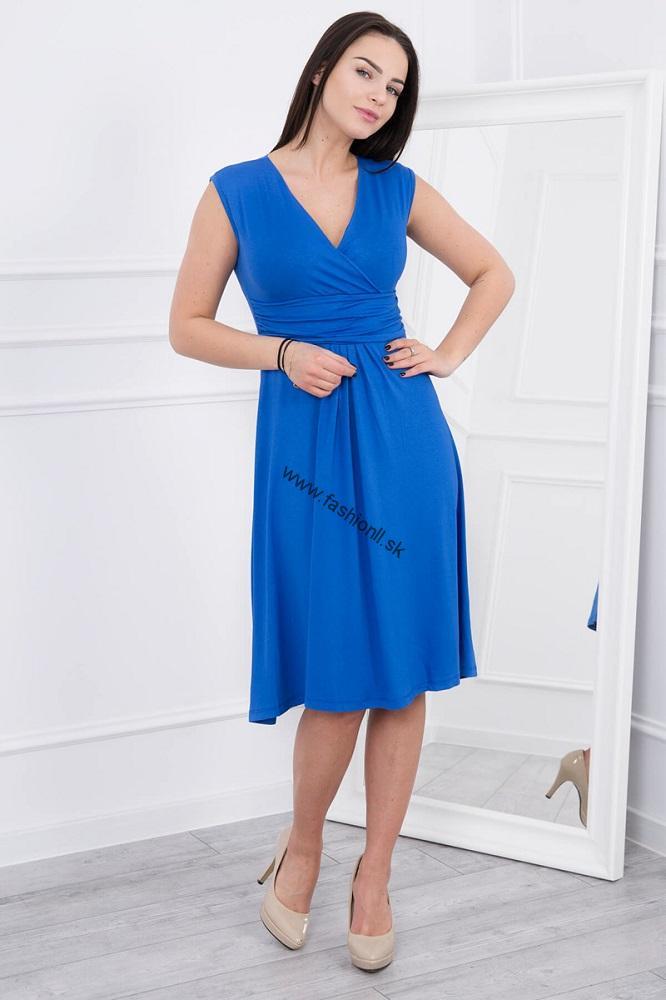 Letné šaty po kolená - kráľovská modrá 9da482394de