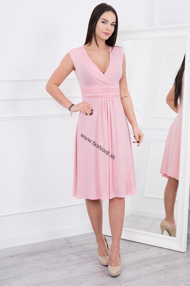 ac683cb499dd Letné šaty po kolená - pudrová ružová