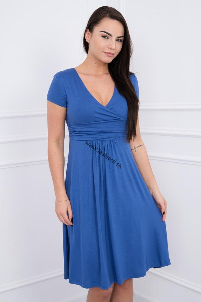 Džínsovo modré šaty po kolená s krátkym rukávom 3823debcfa5